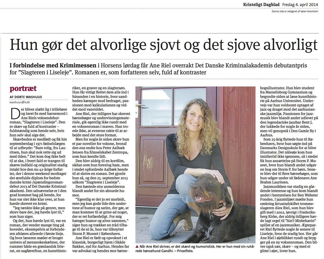 Portræt af Ane Riel i Kristelig Dagblad, d. 4. april 2014